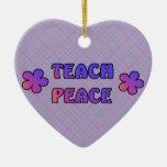 Teach Peace Christmas Tree Ornaments