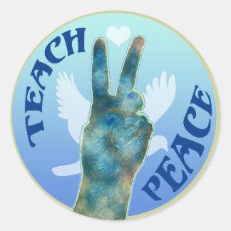 Teach Peace Classic Round Sticker