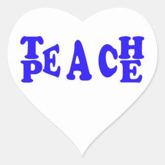 Teach Peace In Blue Font Heart Sticker
