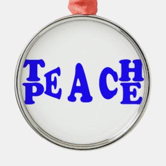 Teach Peace In Blue Font Premium Round Ornament