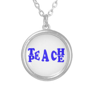 Teach Peace In Blue Font Round Necklace