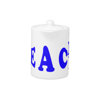 Teach Peace In Blue Font Teapot