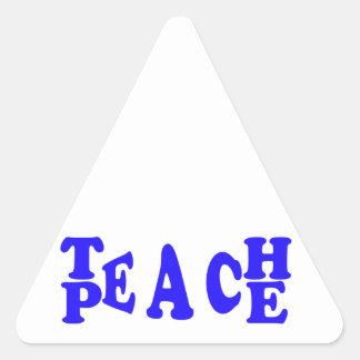 Teach Peace In Blue Font Triangle Sticker