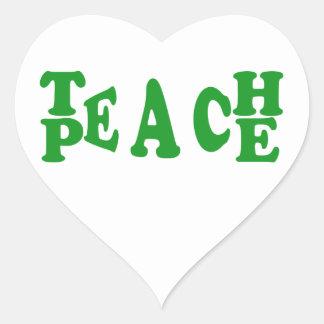 Teach Peace In Dark Green Font Heart Sticker