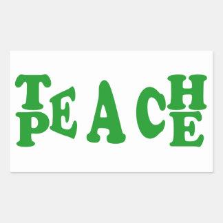 Teach Peace In Dark Green Font Rectangle Sticker