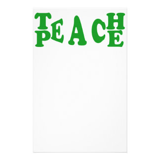 Teach Peace In Dark Green Font Stationary Stationery