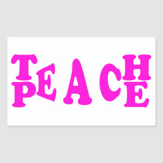 Teach Peace In Pink Font Rectangle Sticker