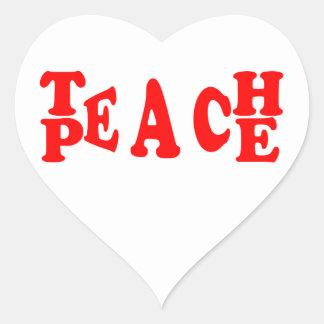Teach Peace In Red Font Heart Sticker