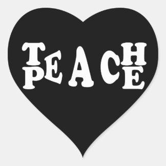 Teach Peace In White Font Heart Sticker