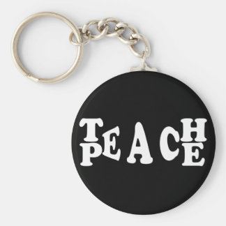 Teach Peace In White Font Keychain