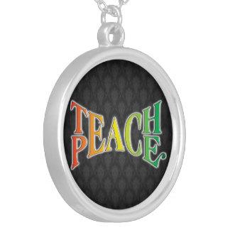 Teach Peace Round Pendant Necklace