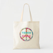 TEACH PEACE with Peace Sign Tote Bag