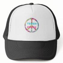 TEACH PEACE with Peace Sign Trucker Hat