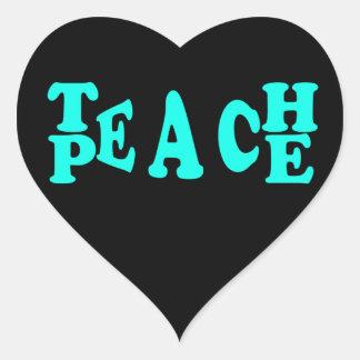 Teach Peach In Light Blue Font Heart Sticker