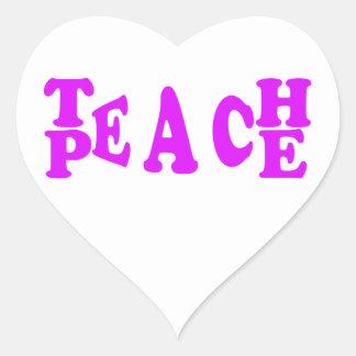 Teach Peach In Purple Font Heart Sticker