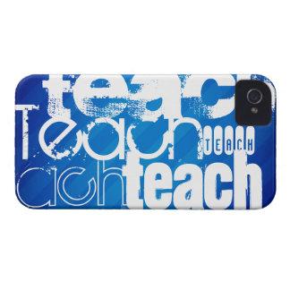 Teach; Royal Blue Stripes iPhone 4 Cover