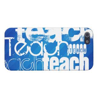 Teach; Royal Blue Stripes iPhone 5 Covers