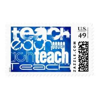 Teach; Royal Blue Stripes Postage Stamp