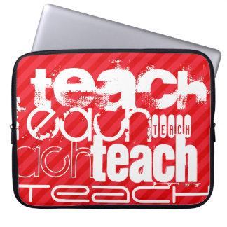 Teach; Scarlet Red Stripes Laptop Computer Sleeve