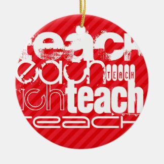 Teach; Scarlet Red Stripes Double-Sided Ceramic Round Christmas Ornament