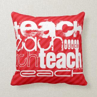 Teach; Scarlet Red Stripes Throw Pillow