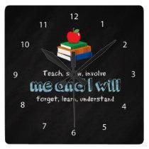 Teach, show & involve square wall clock