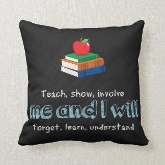 Teach, show & involve throw pillow