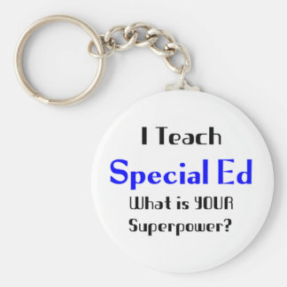 Teach special ed basic round button keychain