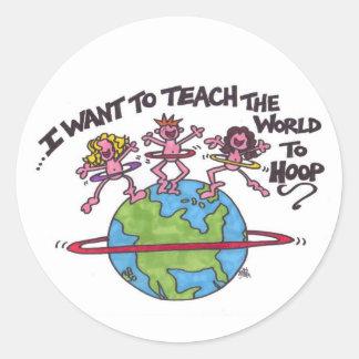 Teach the World to Hoop Classic Round Sticker