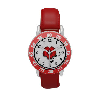 Teach to Tell Time, Flower Rose Watch with Name