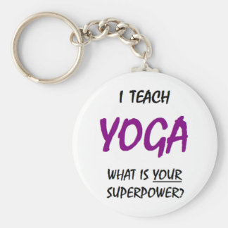 Teach yoga basic round button keychain