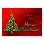 Teacher, a gold and red effect Christmas card