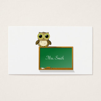 Teacher Adorable Owl on Chalkboard Personalize Business Card