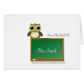 Teacher Adorable Owl on Chalkboard Personalize Greeting Card
