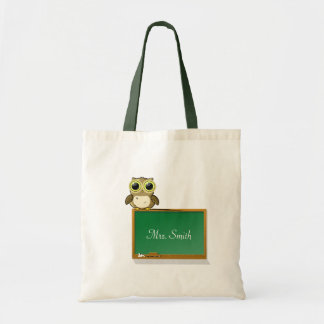 Teacher Adorable Owl on Chalkboard Personalize Tote Bag