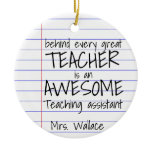teacher aid tote bag teaching assistant TA Ceramic Ornament