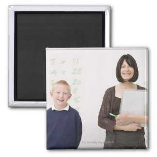 teacher and pupil 2 inch square magnet