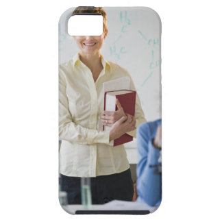Teacher and student in science lab iPhone SE/5/5s case