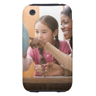 Teacher and student looking at globe tough iPhone 3 cases