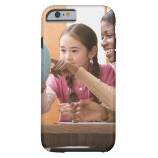 Teacher and student looking at globe tough iPhone 6 case