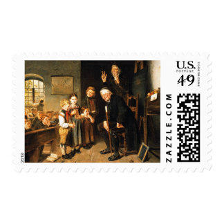 Teacher and Students Fine Art Postage Stamps