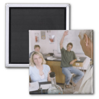 Teacher and Students in Lab 2 Inch Square Magnet