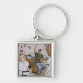 Teacher and Students in Lab Keychain
