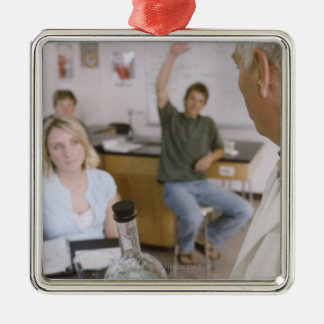 Teacher and Students in Lab Metal Ornament