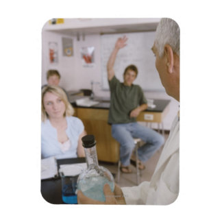 Teacher and Students in Lab Rectangular Photo Magnet