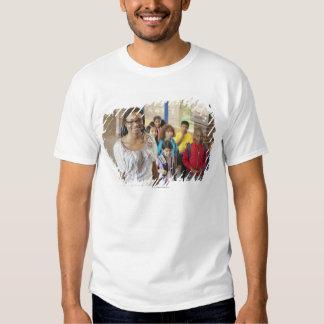 Teacher and students in school hallway t shirt
