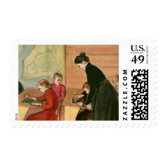 Teacher and Students Painting Postage Stamps