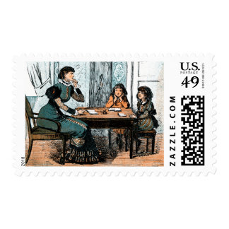 Teacher and Students. Vintage Art  Postage Stamps