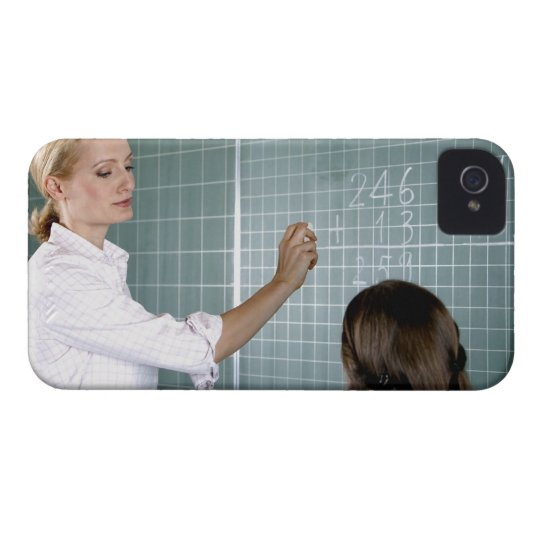 teacher and young girl in front of blackboard in iPhone 4 cover