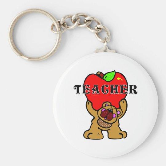 Teacher Apple Bear Keychain